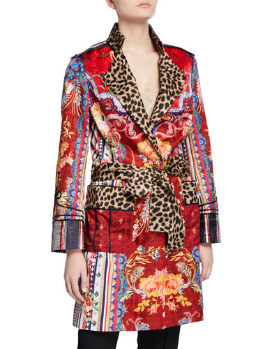 Mid-Length Printed Military Coat