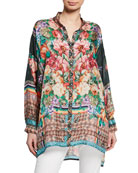 Johnny Was Bethia Mixed-Print Button-Front Long-Sleeve Silk