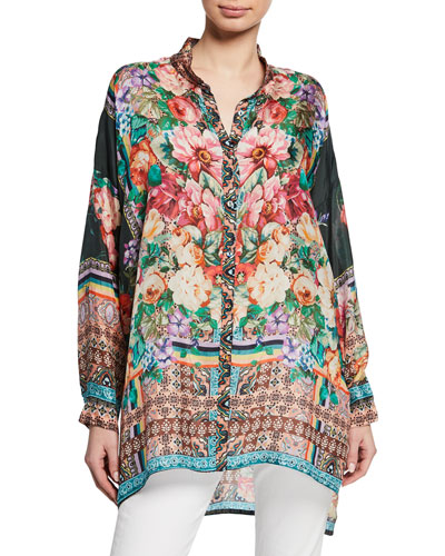 Petite Bethia Mixed-Print Button-Front Long-Sleeve Silk Georgette Top