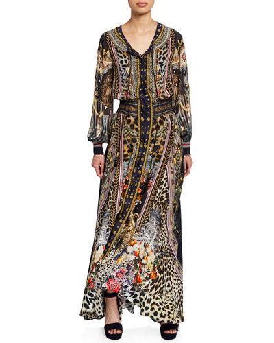 Printed Lace-Up Blouson-Sleeve Maxi Dress
