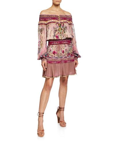 Off-Shoulder Printed Silk Short Dress