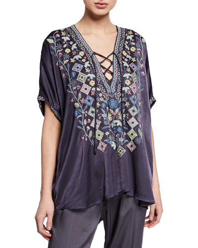 Plus Size Hendaya Embroidered Lace-Up Blouse