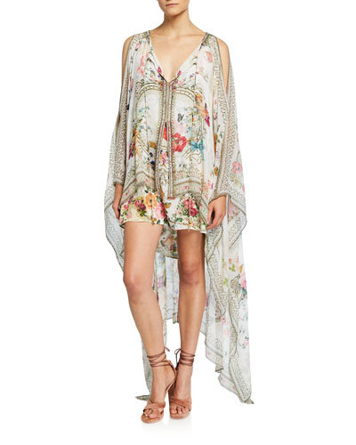 Printed Silk Dress with Long Sheer Overlay