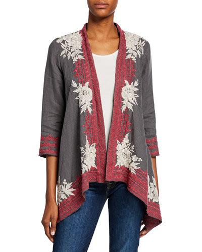 Plus Size Camille Embroidered Draped Linen Cardigan