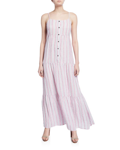 Promenade Striped Button-Front Tiered Maxi Dress