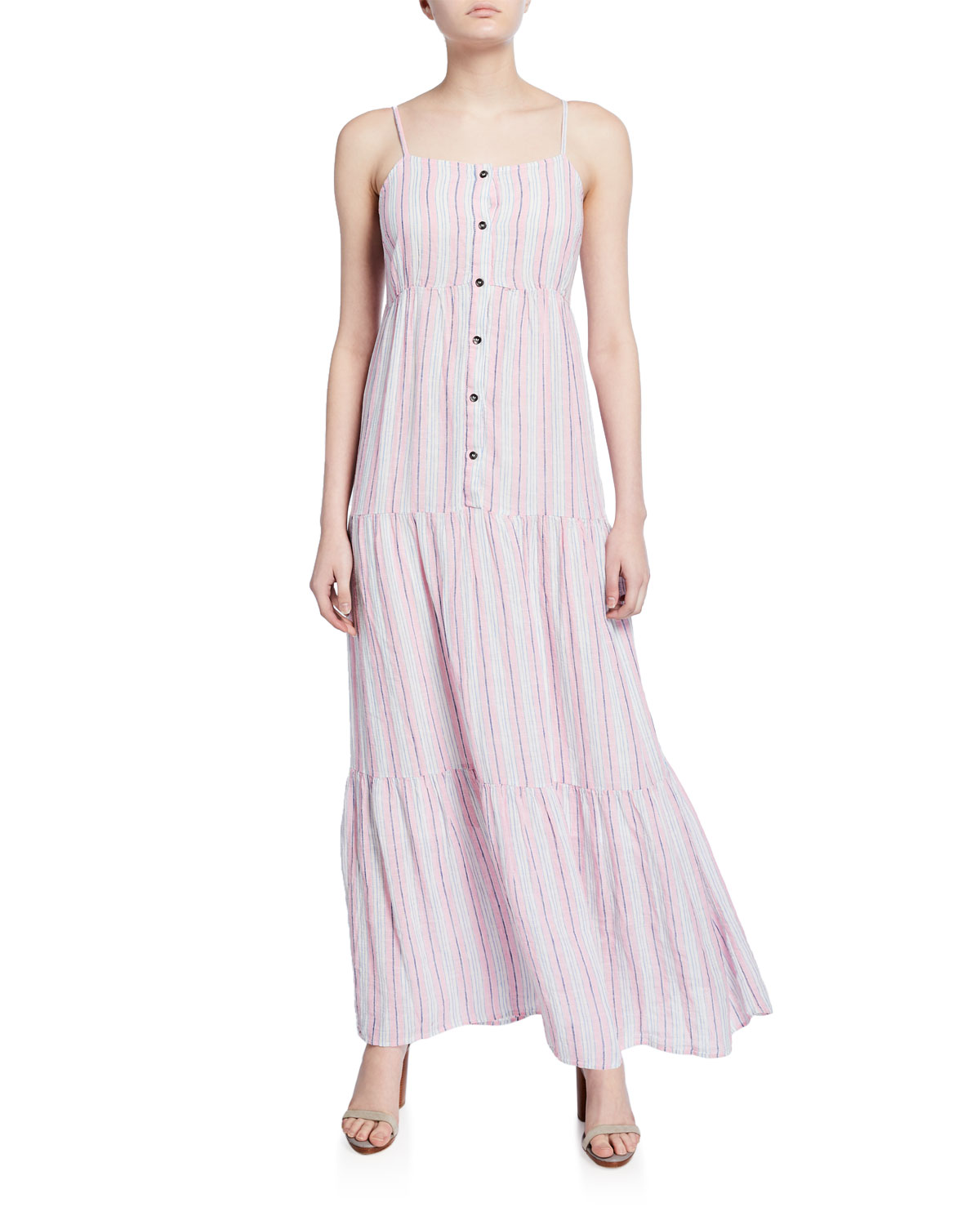 Splendid Dresses PROMENADE STRIPED BUTTON-FRONT TIERED MAXI DRESS