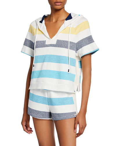 Shoreline Striped Short-Sleeve Pullover Hoodie