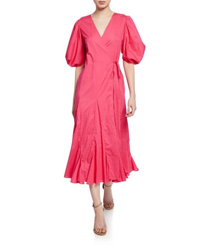 8a8af4c3e7bf Quick Look. Rhode · Fiona Puff-Sleeve Godet Long Wrap Dress