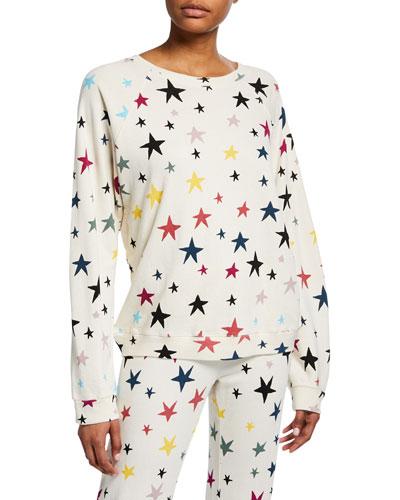 Stars-Printed Oversized Raglan-Sleeve Sweatshirt
