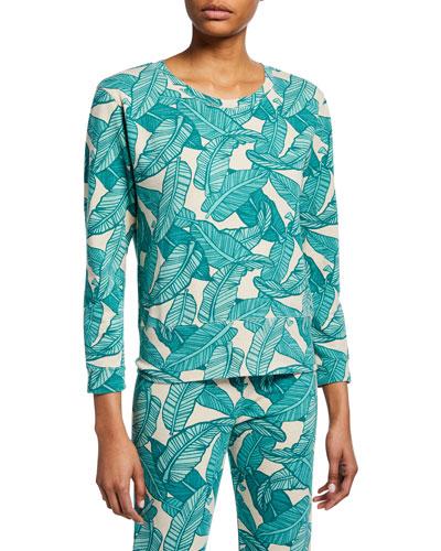 Banana Leaf-Print Crewneck 3/4-Sleeve Sweatshirt