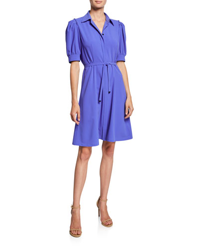 7101d932b7c4 Quick Look. Elie Tahari · Mildred Button-Front Short-Sleeve Belted Crepe  Dress