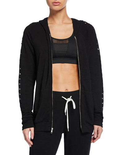 Raglan-Sleeve Zip-Front Hoodie Jacket w/ Triangle Cutouts