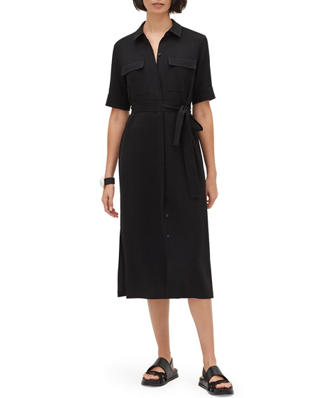 Lafayette 148 New York Doha Button-Front Short-Sleeve Finesse Crepe Shirtdress