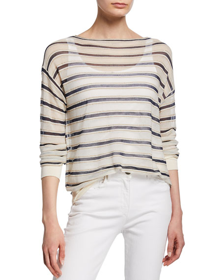 Lafayette 148 New York Striped Finespun Voile Bateau-Neck Long-Sleeve Pullover
