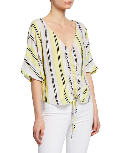 Atala Striped Dolman-Sleeve Top with Drawstring Front