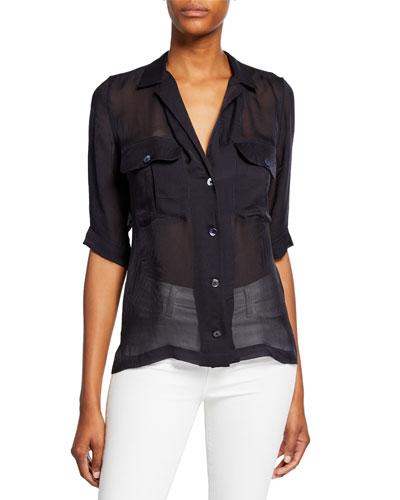Parnella Short-Sleeve Button-Front Silk Shirt