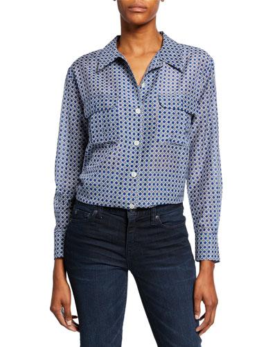Videlle Button-Front Long-Sleeve Cotton/Silk Shirt