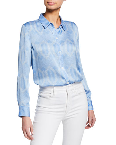 Leema Printed Button-Front Satin Blouse