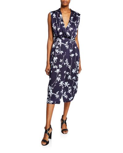 Femma Floral-Print Sleeveless Satin Dress
