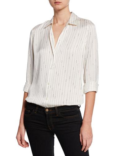 Essential Striped Button-Down Silk Shirt