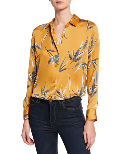 Essential Leaf-Printed Button-Front Shirt
