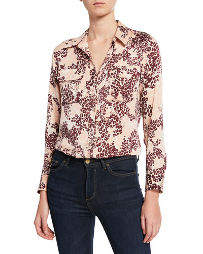 Slim Signature Leopard-Print Button-Down Shirt