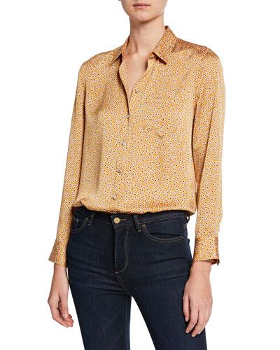 Leema Floral-Print Button-Down Shirt w/ Pocket