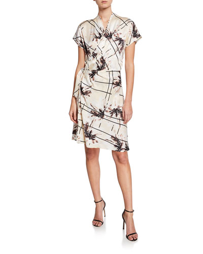 Leonce Abstract Short-Sleeve Silk Wrap Dress