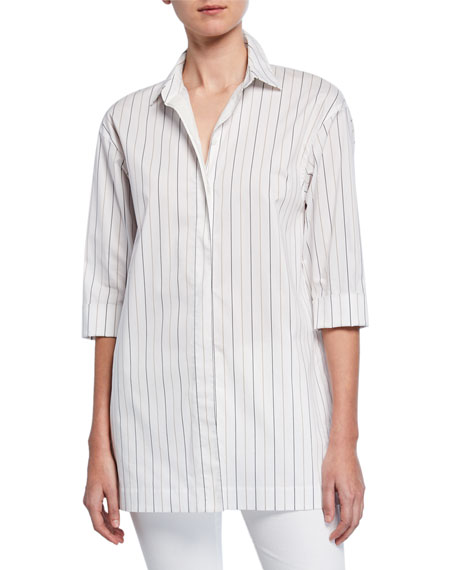 Lafayette 148 New York Wade Sycamore Stripe Button-Down Blouse