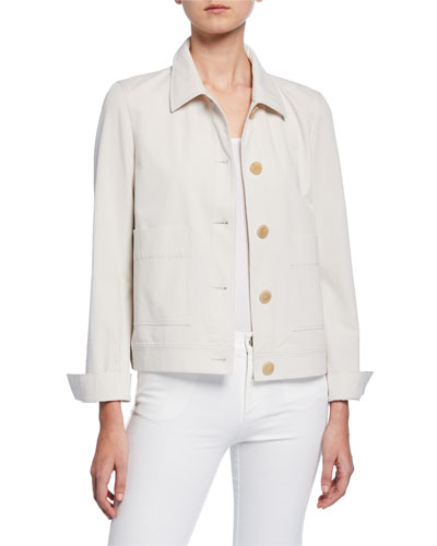 Skylar Button-Front Italian Cotton Bi-Stretch Jacket