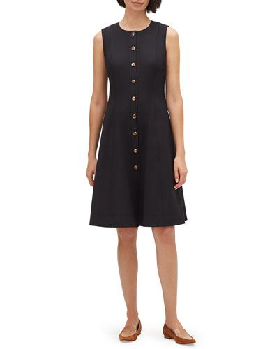 Fahey Sleeveless Button-Front Fundamental Bi-Stretch Dress