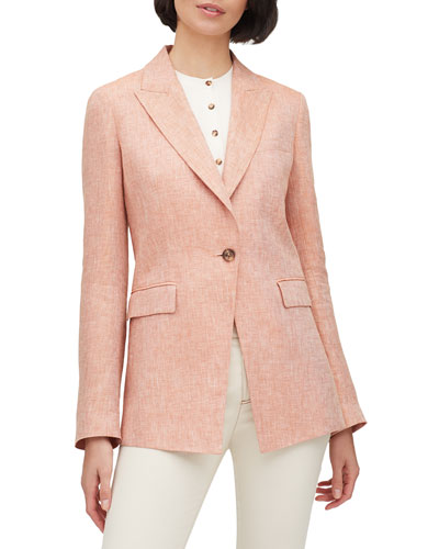 Atticus Leopold Linen Peak-Lapel One-Button Blazer