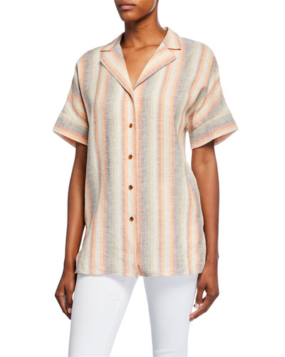 Wendell Skyscape Stripe Button-Down Linen Blouse