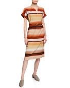 Lafayette 148 New York Cosimia Sunrise Watercolor Belted