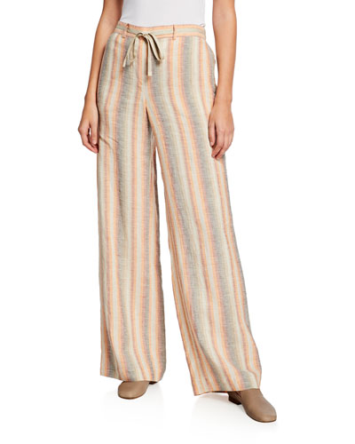 Columbus Skyscapes Stripes Wide-Leg Linen Pants