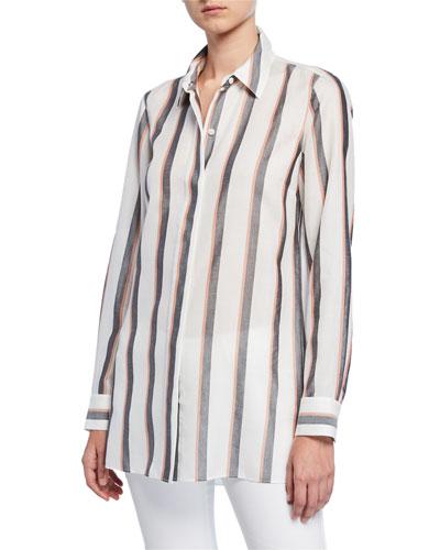 Peggy Sunrise Stripe Button-Down Shirt