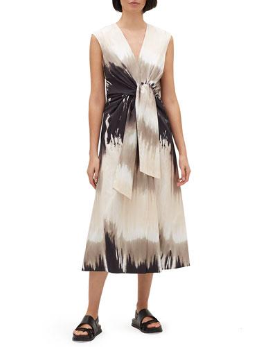 Orielle Sandstone Ombre Tie-Waist Sleeveless Midi Dress