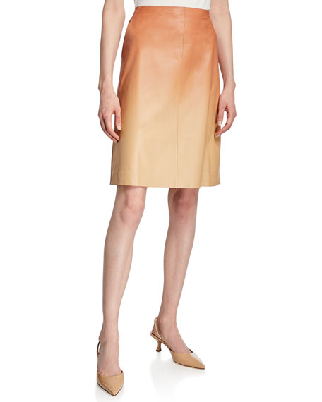 Lafayette 148 New York Whitley Ombre Lambskin Leather Skirt