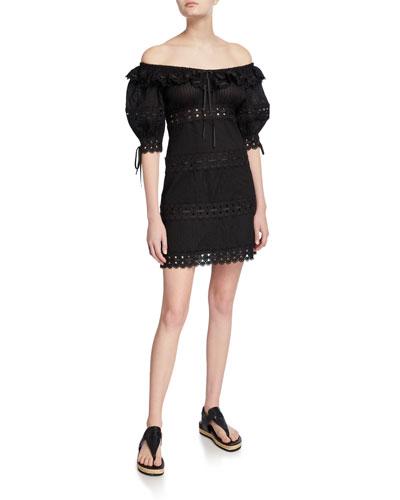Honour Pintuck Paneled Mini Dress