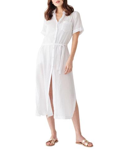 Fire Island Tie-Waist Duster Shirt Dress