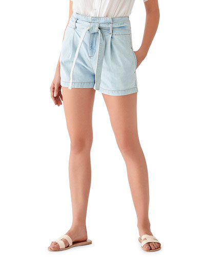 Camile Belted High-Waist Shorts