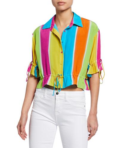 Mimi Striped Button-Down Drawstring Shirt