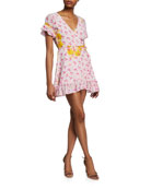 All Things Mochi Dory Printed Short-Sleeve Wrap Dress