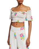All Things Mochi Eva Dotted Floral-Print Off-the-Shoulder Ruffle