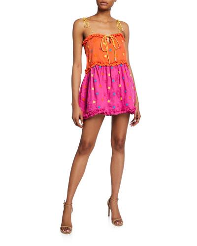 Nia Tiered Linen Ruffle Mini Dress