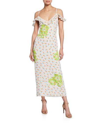 Joy Printed Cold-Shoulder Midi Dress