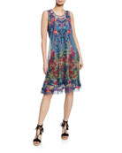 Johnny Was Rhandi Mixed-Print Sleeveless Mesh Dress w/