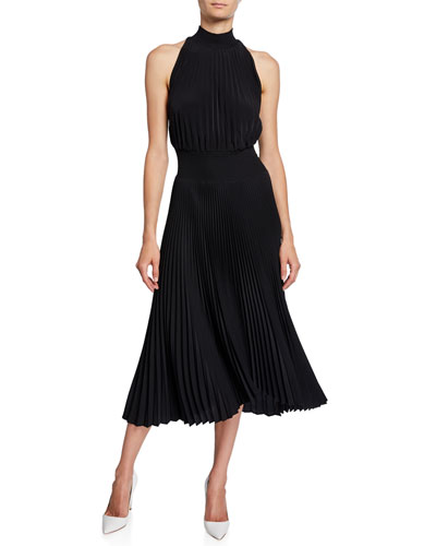 Renzo High-Neck Pleated Asymmetrical Cocktail Dress