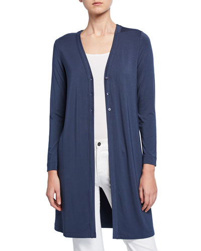 Ease Button-Front Long Cardigan