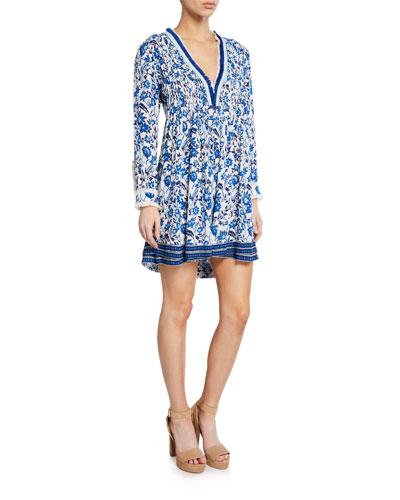 Ola Printed Long-Sleeve Dress